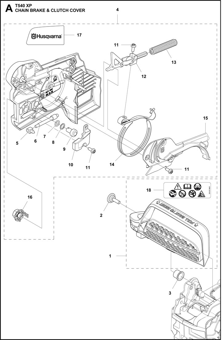Husqvarna T540 XP Chain Brake and Clutch Cover Parts