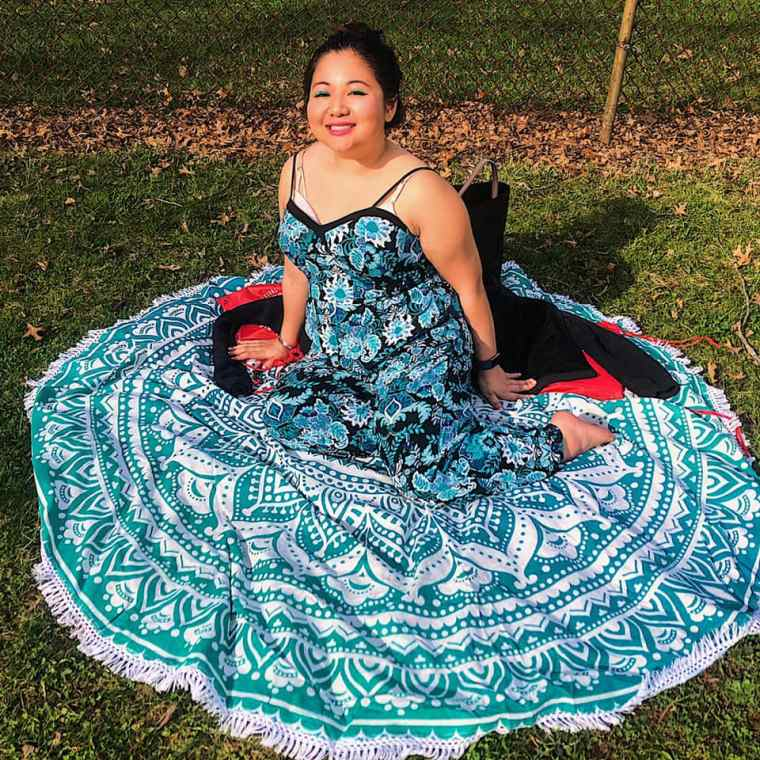 sitting woman thuy tapestry teal blue