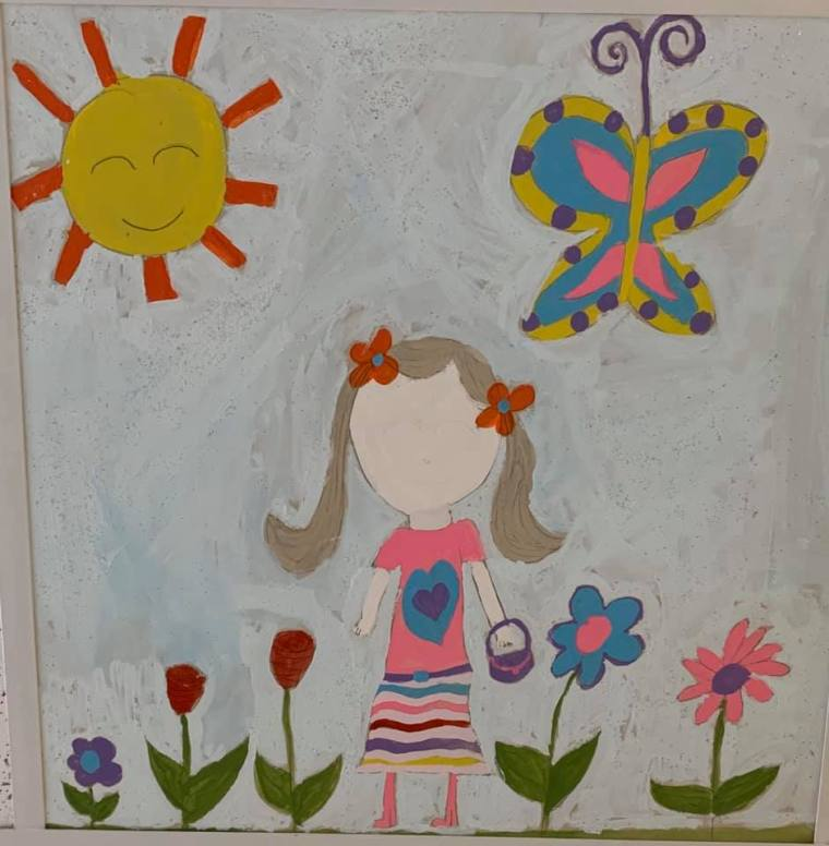 ceiling tiles painted by patients at the Connecticut Children's Medical Center.