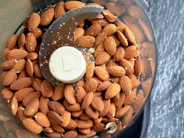 Raw Almonds in Food Processor
