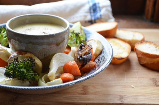 Roasted Vegetables with Cheese Sauce and Toasts