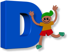Letter D in childrens Bright cheerful happy music