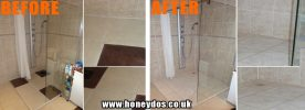 SHOWER TILED AND FLOOR REANGLED
