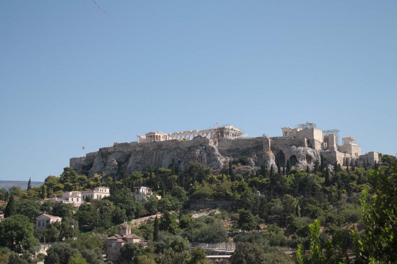 Vue de l'Acropole d'Athènes depuis l'Agora