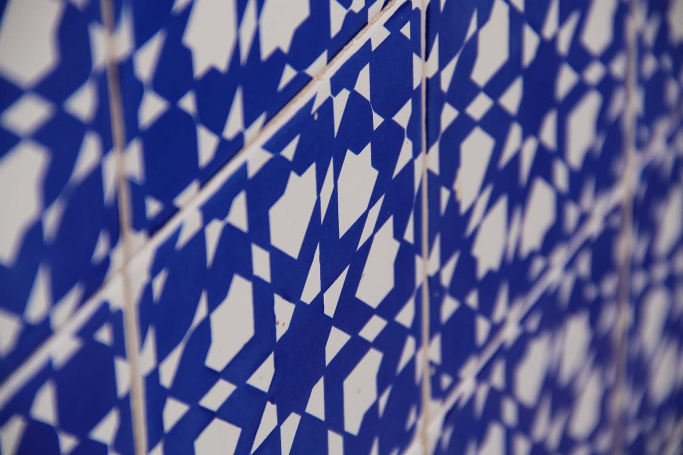 Blue and white decoration of Moorish tiles in Marrakech