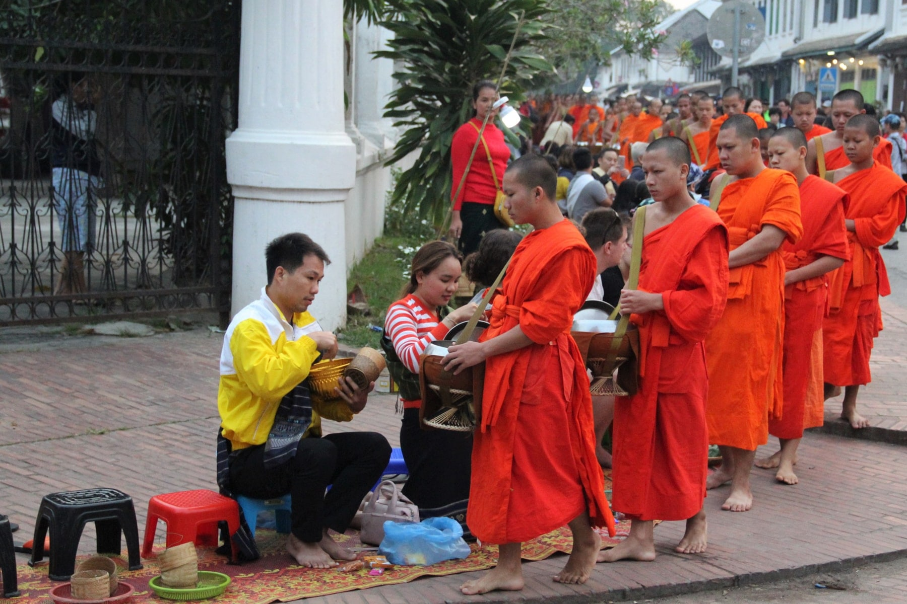 Couple donating during alms giving ceremony in Luang Prabang