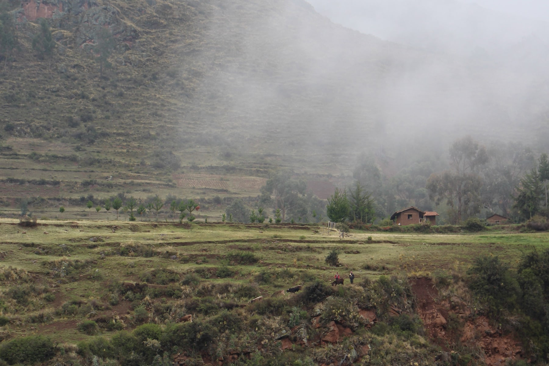 Little houses and people on mountain in fog
