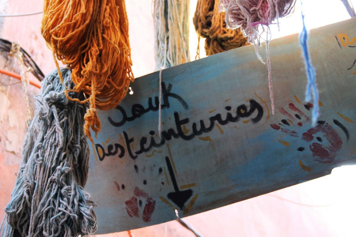 Dyers souk sign in Marrakech