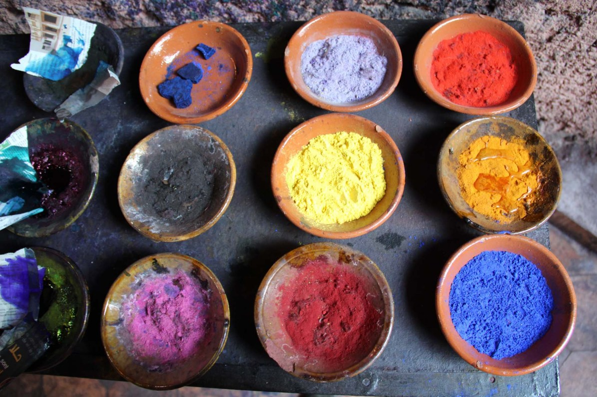 Pigments in the Dyers souk in Marrakech