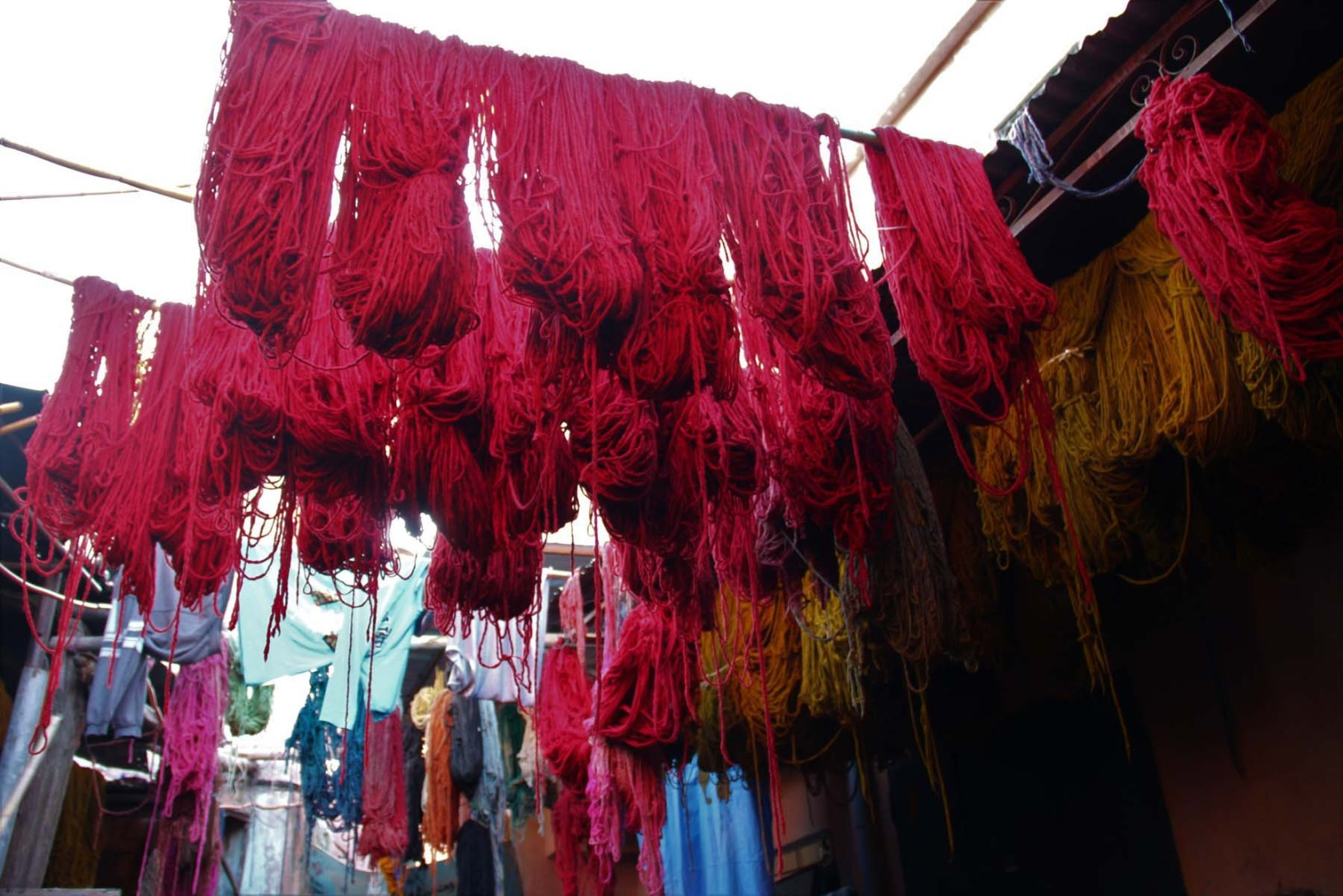 Fibers drying out in Marrakech Dyers souk
