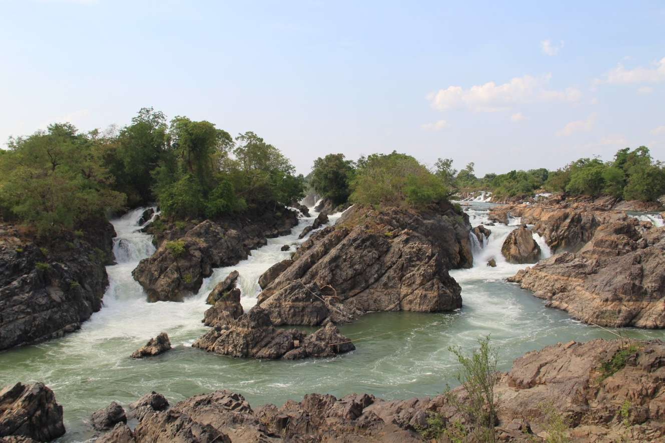 Two falls joining the river Tat Somphamit Falls Don Khon