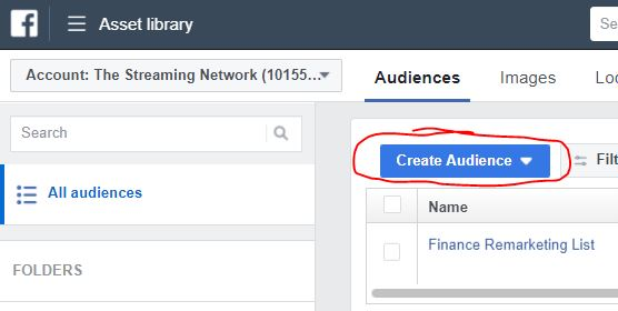 """Create New Audience"" button pictured in the Facebook Ad Manager screen."