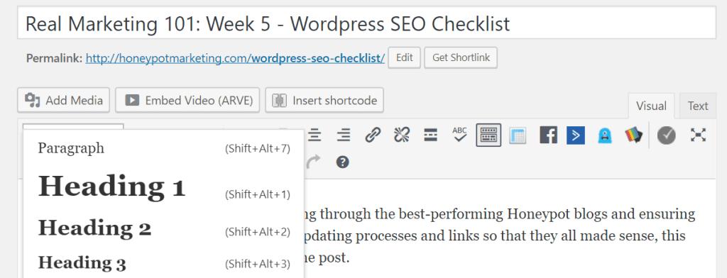 Menu for H1s, H2s, H3s in the WordPress SEO Checklist