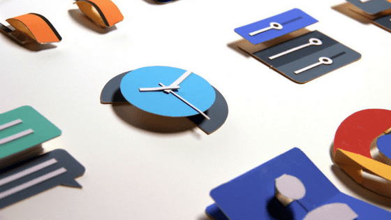 material design shown through different mobile application icons including chrome