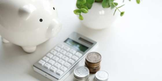 calculator, piggy bank, stacked coin piles, and a plant in a white jar representing bare essentials of small business accounting best practices.