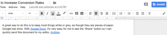 how to increase conversion rates on google docs with noticeable share button
