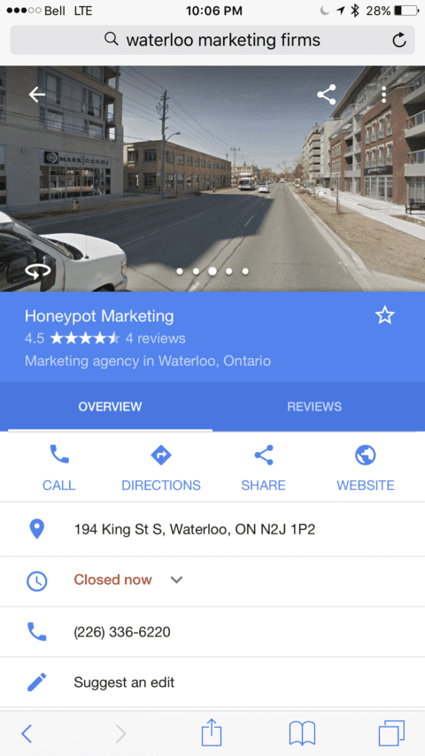 Screenshot of Honeypot Marketing from streetview on Google Business