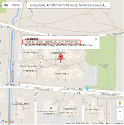 Googleplex location on Google Maps