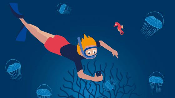 Scuba diver Googling how to scuba dive