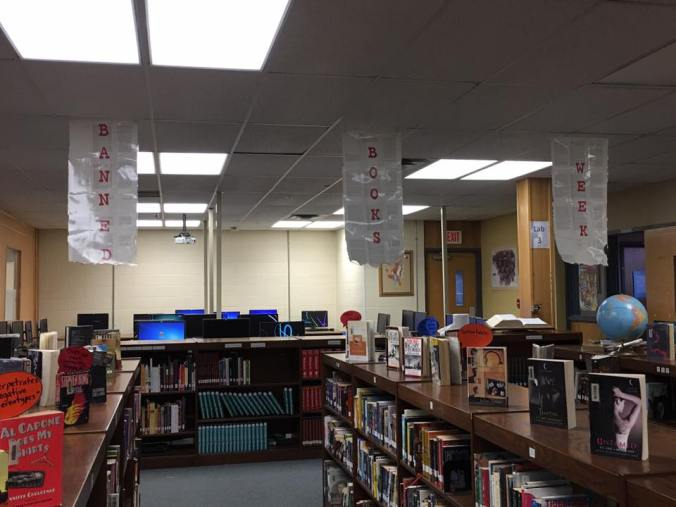 Banned Books Week signs jay high school library