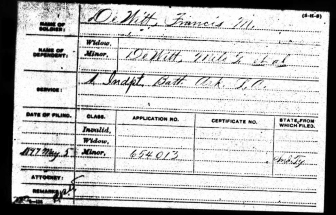 Military pension app DeWitt Milo and Francis