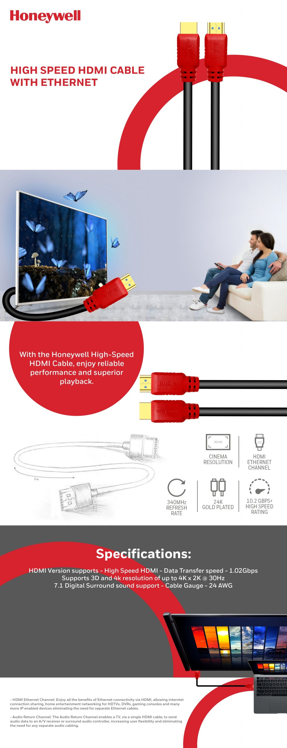 Honeywell High Speed HDMI 1.4 Cable 3 Meter with Ethernet