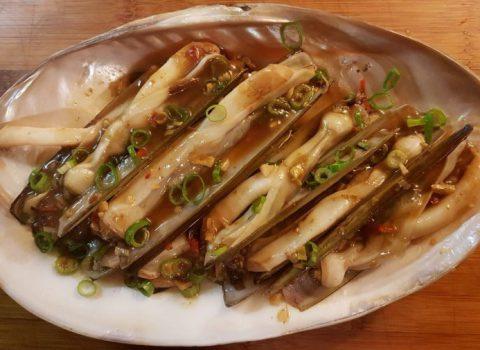Scheermessen in tamarin saus (min 5 porties, tijdens seizoen)