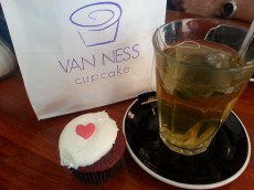 I got a free cupcake for checking into Van Ness Cupcakes on yelp!