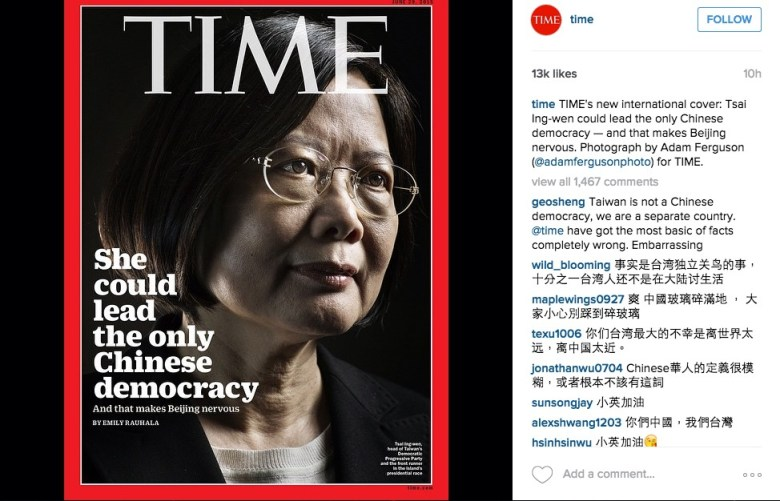 Tsai Ing-wen appearing on front page of Time magazine
