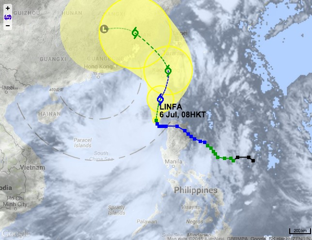 Tropical cyclone track of Linfa. Photo: HKO.