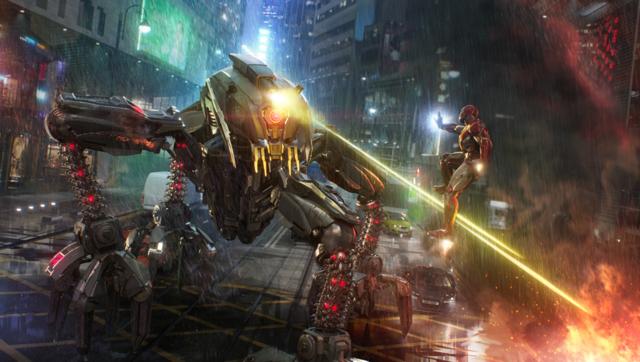 Iron Man against enemies in Hong Kong