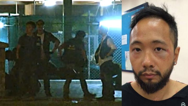 Seven police officers allegedly beating up Civic Party member Ken Tsang during Occupy protest last yea