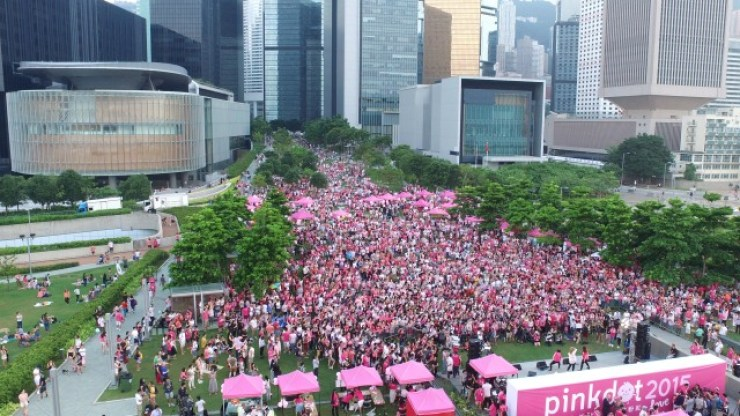 Hong Kong's 2015 LGBTQ rally. Photo: Pink Dot.