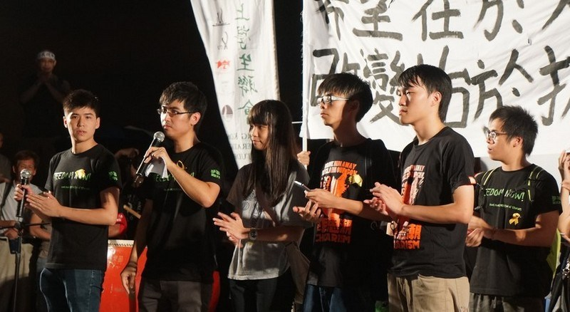Student activists addressing crowds during the Occupy protests in 2014.