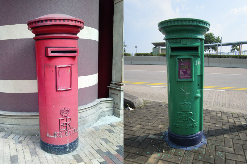 Two ERII post boxes, one with original design in Western Market (left).
