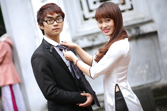 friendship asian male female couple happy
