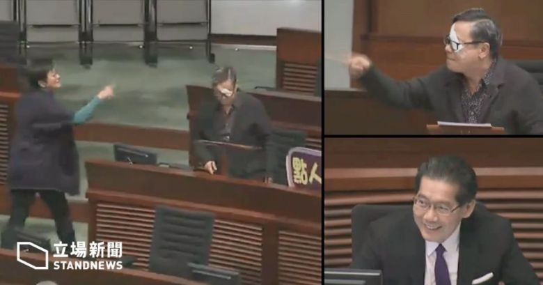 Secretary for Commerce and Economic Development Gregory So Kam-leung smiled when Helena Wong and Raymond Wong engaged in a quarrel.