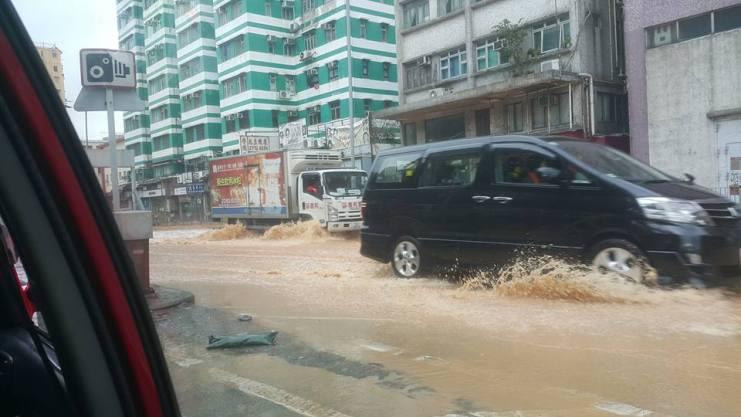 Cars going through the flood.