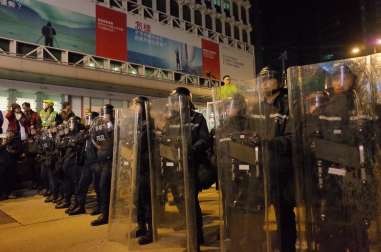 Police at the Mong Kok protest. File Photo: Kris Cheng, HKFP.