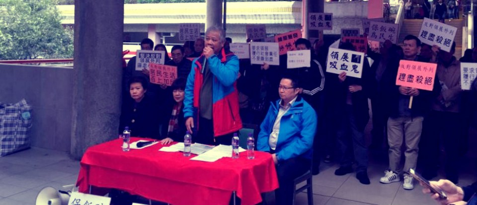 A press conference during the Cheung Fat market strike