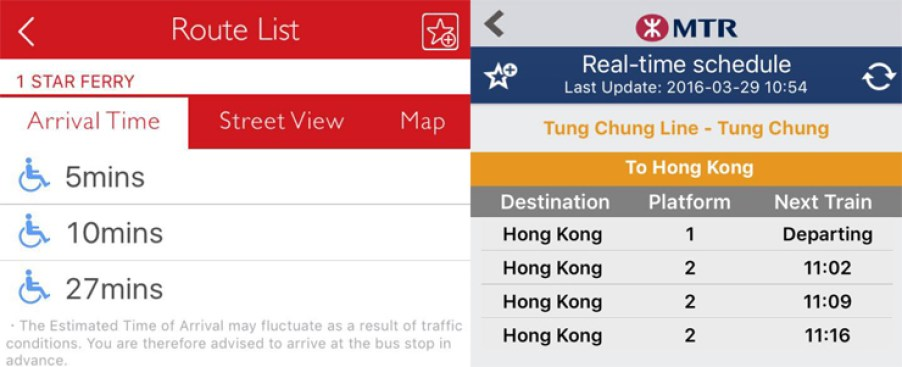 Real-time updates on services from public transport apps.