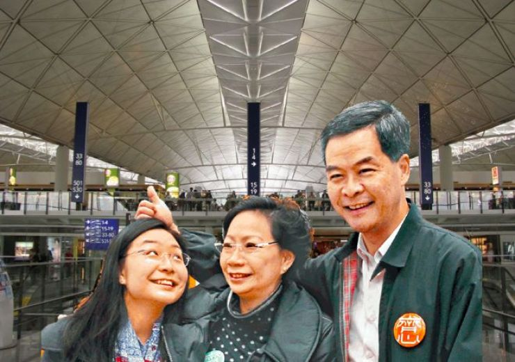 CY Leung's family at airport