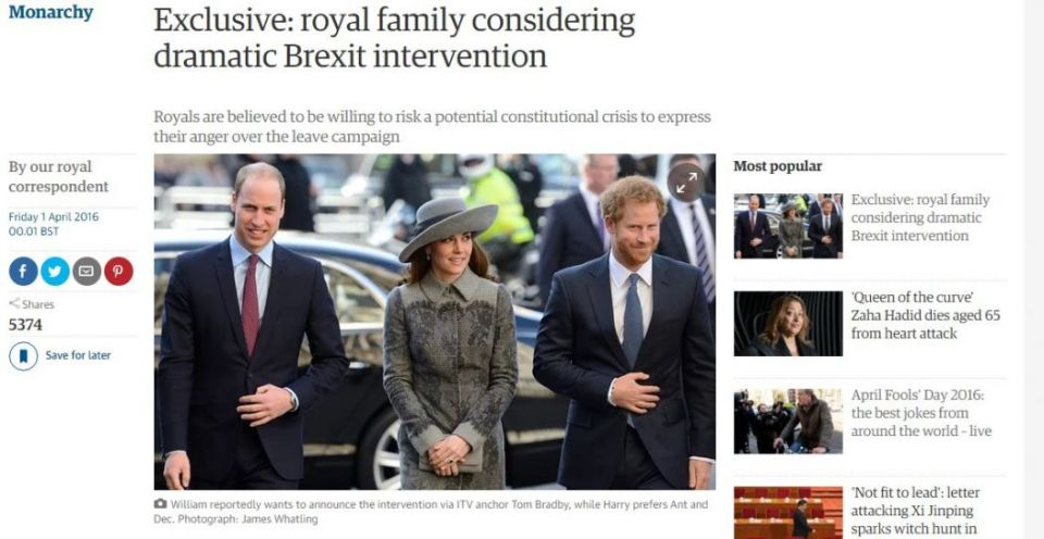 royal brexit april fools