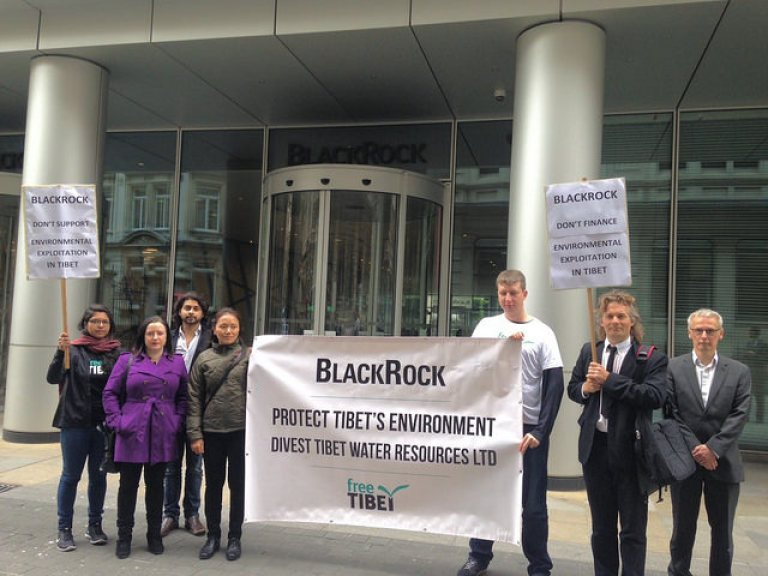Protesters gathered to encourage London based BlackRock to divest in Tibet Water Resources Ltd