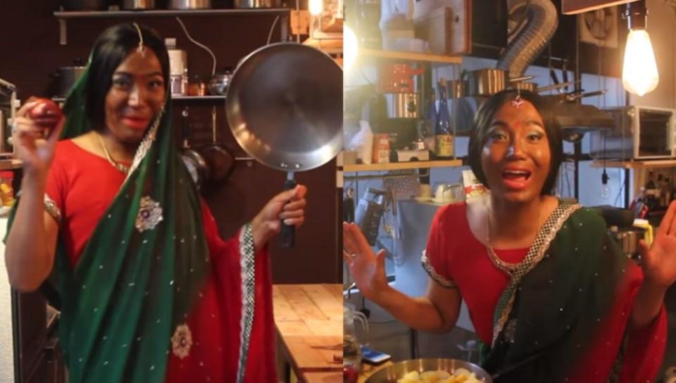 indian auntie racist parody