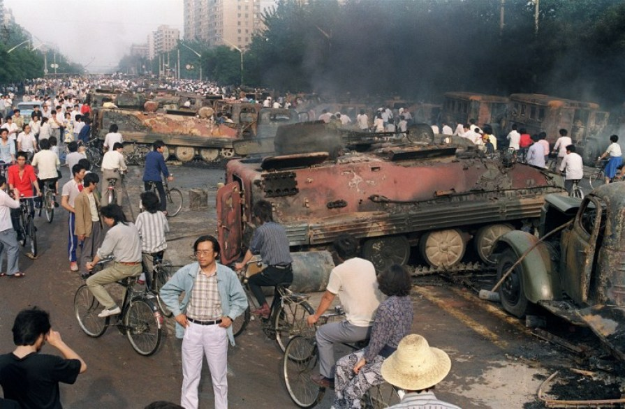tank burnt tiananmen square massacre crackdown 1989