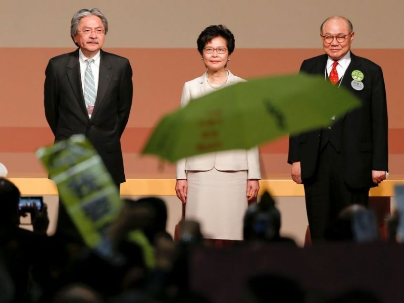 chief executive election 2017 John Tsang, Carrie Lam and Woo Kwok-hing.