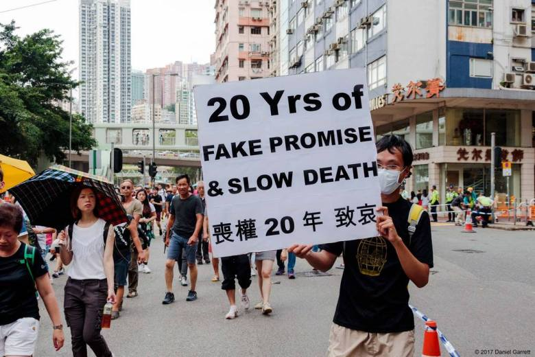 hong kong one country july 1 democracy march protest rally
