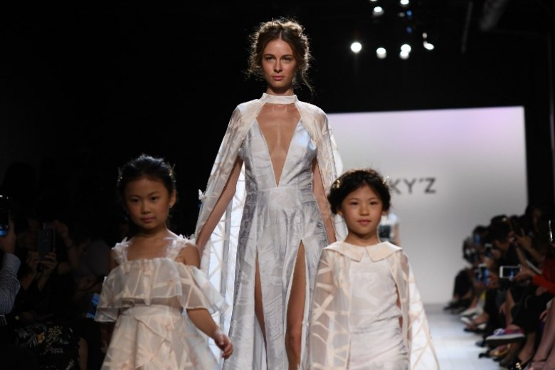Models present creations by Vicky Zhang