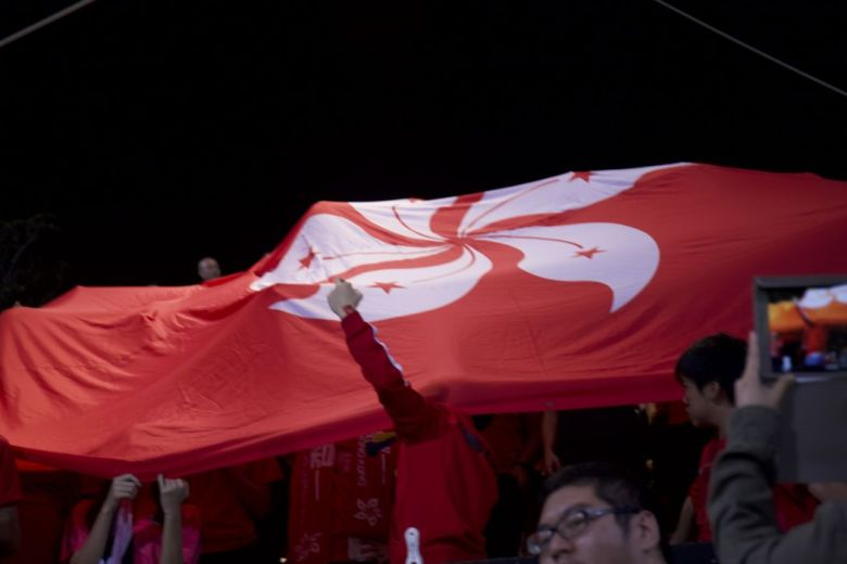 hong kong flag independence booing football game